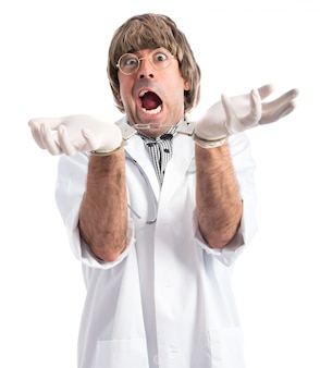Crazy doctor with handcuffs
