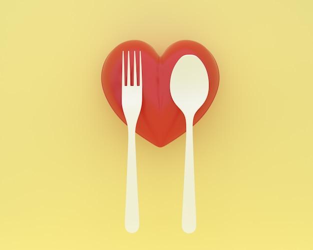 Créatif de cuillères et fourchettes avec coeur sur fond de couleur jaune. santé minimale con