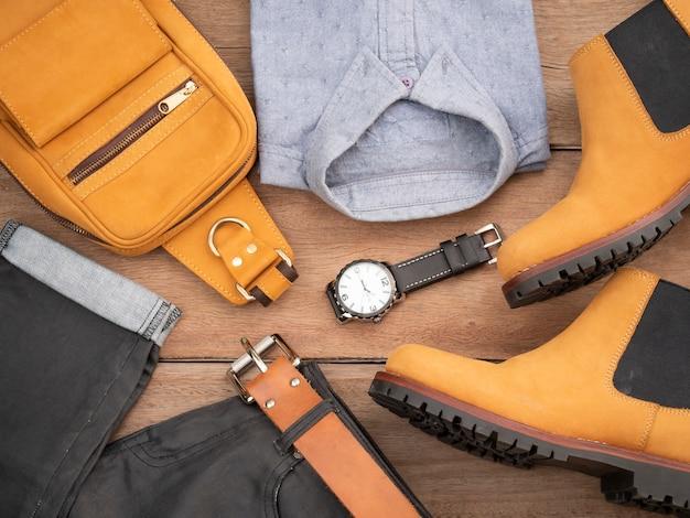 Création de mode pour hommes, ensemble de vêtements décontractés et accessoires en cuir