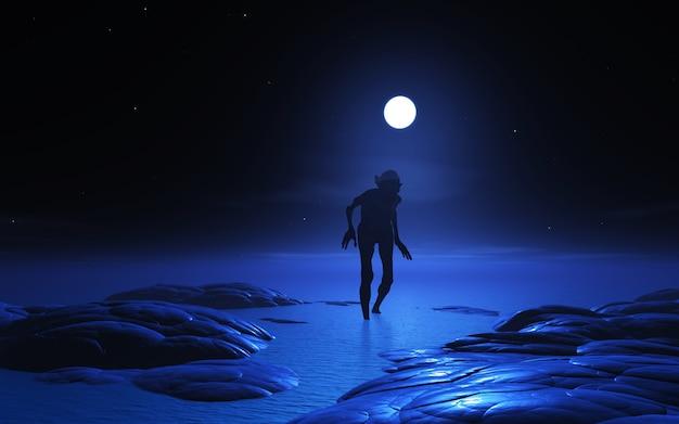 Créature zombie 3d au clair de lune