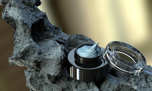 Crème cosmétique de beauté de soin de peau de boue volcanique avec le pot noir ouvert