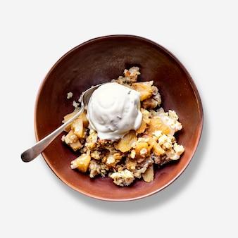 Crème glacée à la vanille et crumble aux pommes psd maison