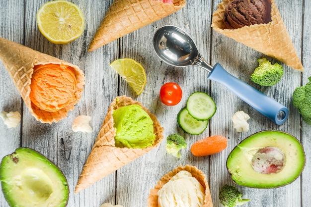 Crème glacée végétale colorée