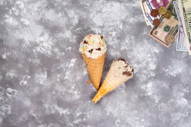 Crème glacée en wafers
