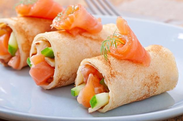 Crêpes aux fûts de poisson rouge