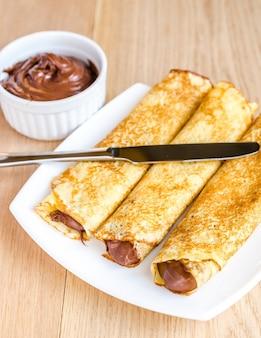Crêpes à la crème au chocolat