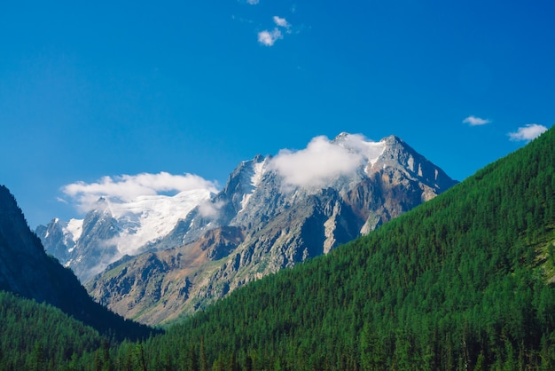 Crête rocheuse avec de la neige derrière des collines recouvertes de forêts de conifères