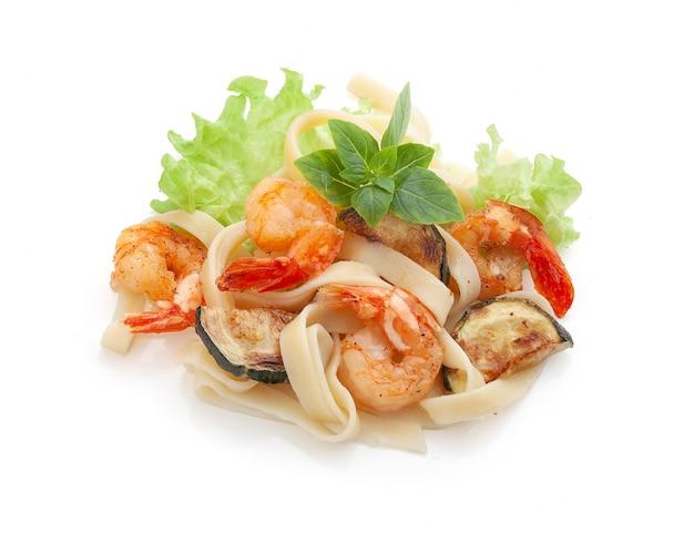 Crevettes aux pâtes et courges