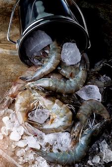 Crevettes crues et fraîches.