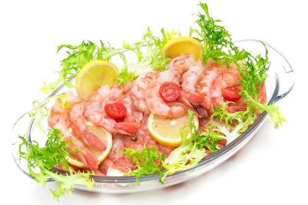 Crevettes crues, ingrédient de crevettes crues de fruits de mer pour la cuisson