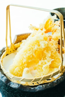 Crevettes frites et crevettes tempura