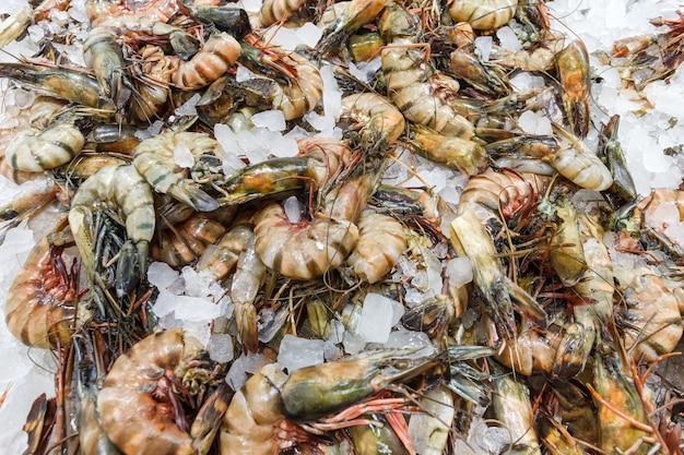 Crevettes géantes sur glace, de nombreux morceaux frais entiers crus réfrigérés, au marché aux poissons.