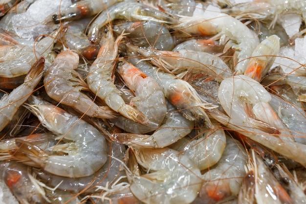 Crevettes sur glace, nombreuses crevettes crues fraîches entières réfrigérées, au marché aux poissons.