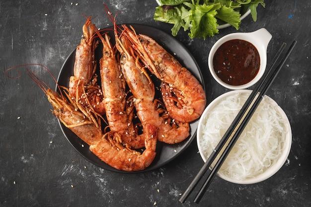 Crevettes grillées frites