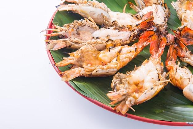 Crevettes grillées menu de crevettes grillées pour le déjeuner