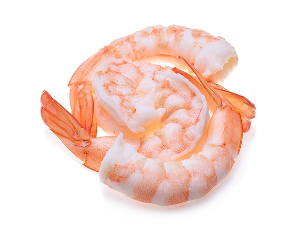 Crevettes isolées sur blanc