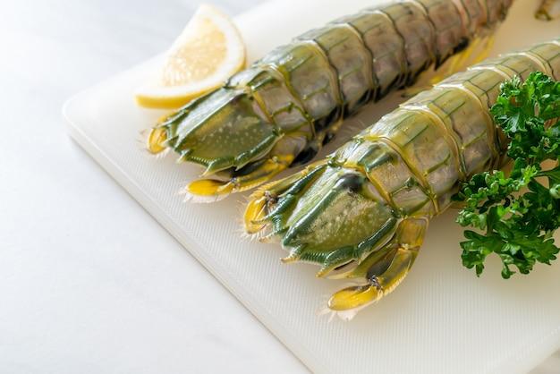 Crevettes mantis fraîches au citron à bord