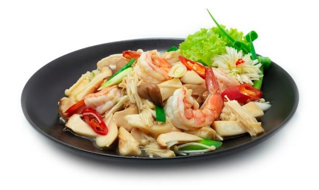 Crevettes sautées aux champignons erynji king oyster gold needle