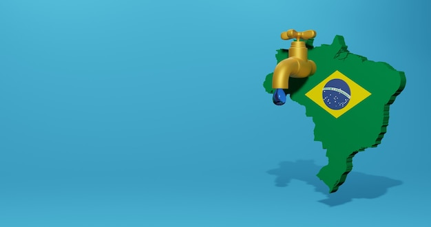 Crise de l'eau et saison sèche au brésil pour l'infographie et le contenu des médias sociaux en rendu 3d