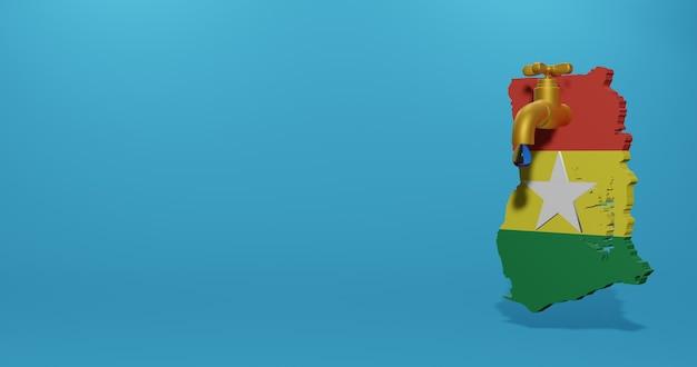Crise de l'eau et saison sèche au ghana pour l'infographie et le contenu des médias sociaux en rendu 3d