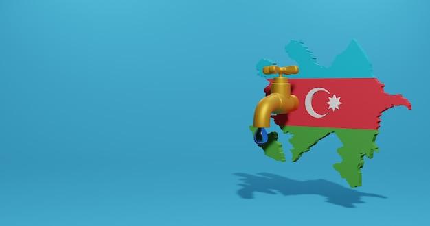 Crise de l'eau et saison sèche en azerbaïdjan pour l'infographie et le contenu des médias sociaux en rendu 3d