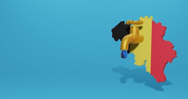 Crise de l'eau et saison sèche en belgique pour l'infographie et le contenu des médias sociaux en rendu 3d