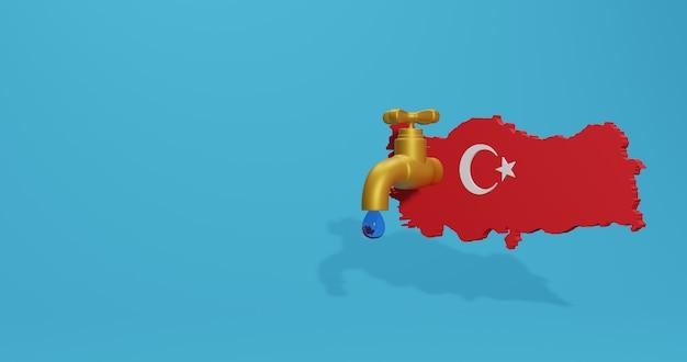 Crise de l'eau et saison sèche en turquie pour l'infographie et le contenu des médias sociaux en rendu 3d