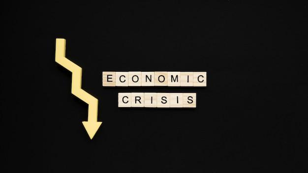 La crise économique frappe avec une flèche décroissante