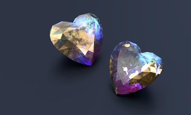 Cristal coloré en forme de cœur placé sur le rendu 3d du sol mat.