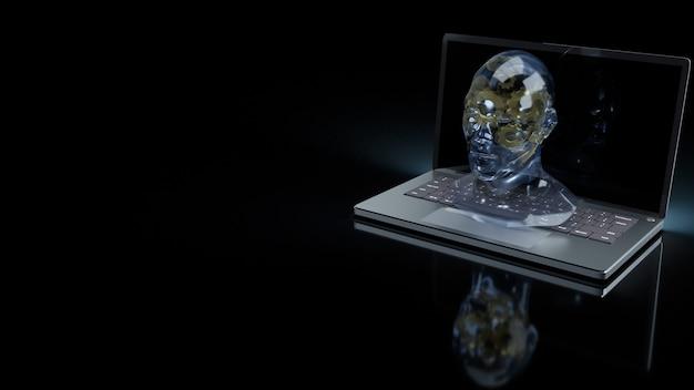 Le cristal de tête humaine et l'engrenage en or à l'intérieur sur un ordinateur portable pour l'apprentissage automatique ou le rendu 3d de contenu ia