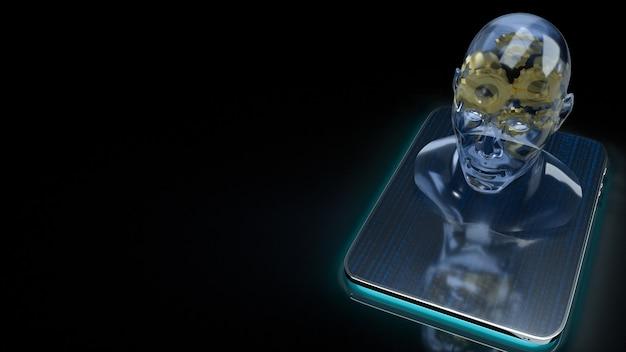 Le cristal de tête humaine et l'engrenage en or à l'intérieur sur tablette pour l'apprentissage automatique ou le rendu 3d de contenu ia