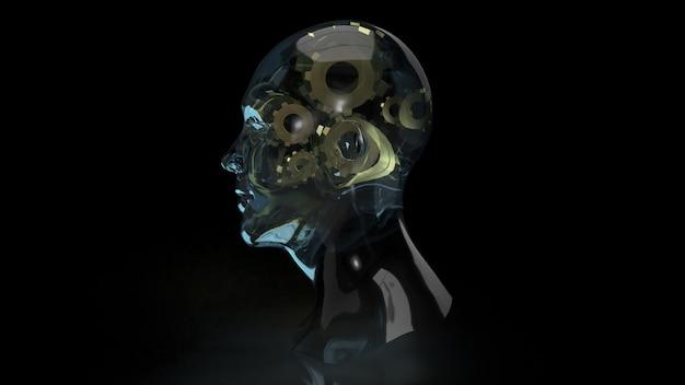 Le cristal de la tête humaine et les engrenages en or à l'intérieur pour le rendu 3d du contenu de l'idée de symbole