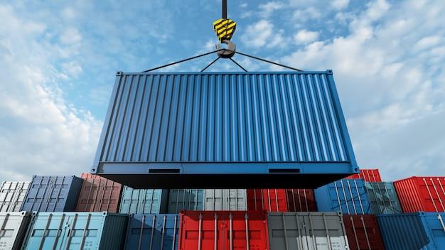 Crochet de grue avec un conteneur cargo bleu pour le texte