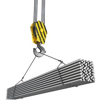 Crochet de grue avec pièces métalliques de construction.