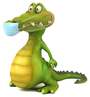 Crocodile de dessin animé amusant avec un masque