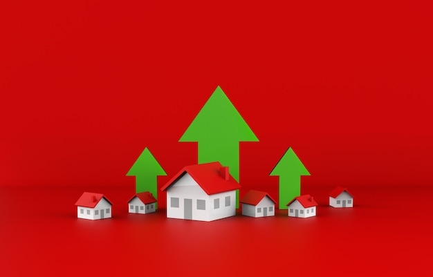 Croissance des affaires immobilières avec flèche verte. illustration 3d.