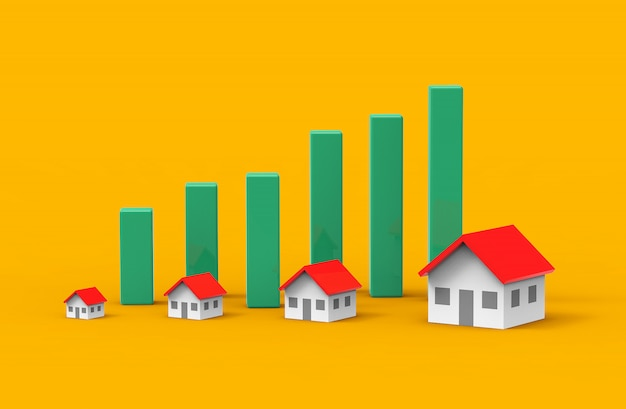 Croissance des affaires immobilières avec graphique vert. illustration 3d.
