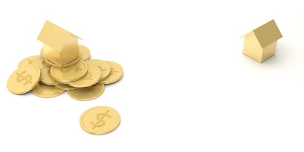 La croissance du concept d'investissement de la maison de projet immobilier et de l'or. pour un avenir meilleur tant dans la finance que dans le logement. rendu 3d