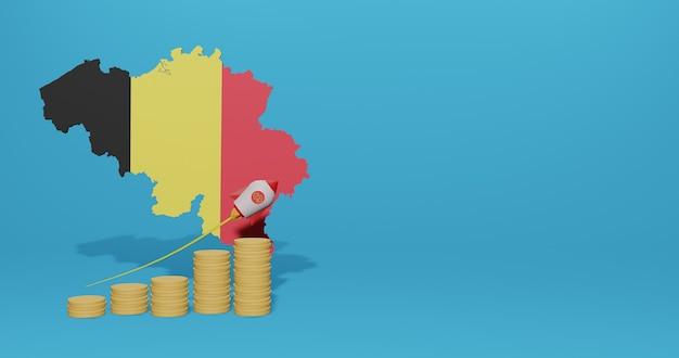 Croissance économique dans le pays de belgique pour l'infographie et le contenu des médias sociaux en rendu 3d
