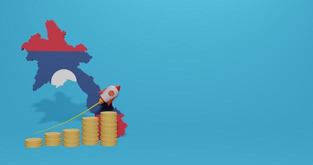 Croissance économique dans le pays du laos pour l'infographie et le contenu des médias sociaux en rendu 3d