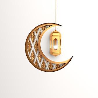 Croissant et lanterne de fond islamique