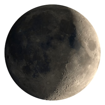 Croissant de lune croissant vu avec télescope, isolé