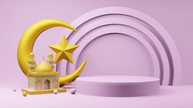 Croissant de lune doré et étoile avec mosquée, podium et symboles islamiques