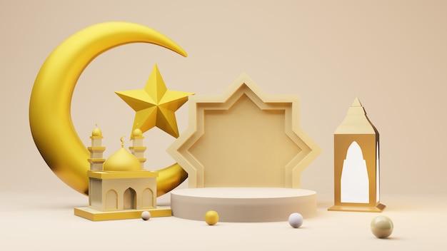 Croissant de lune doré et étoile avec mosquée et symboles islamiques