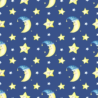 Croissant de lune et étoiles sur un bleu foncé