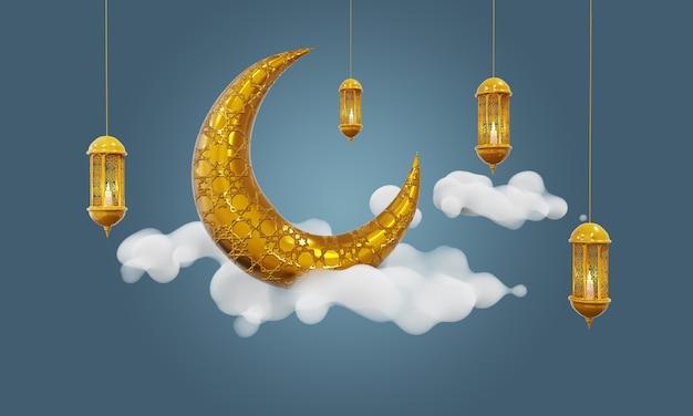 Croissant de lune et nuage fond ramadan kareem