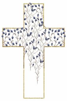 Croix de fleurs sauvages aquarelle et cadre doré clipart, croix de fleurs bleues, cadre floral de prairie