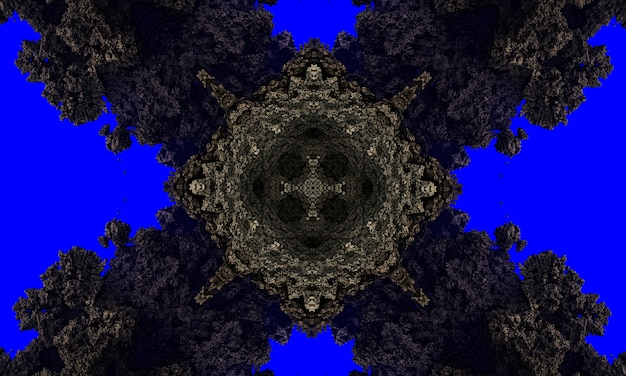 Croix de pierre grise sur fond bleu très foncé fond de cadre brillant. contexte technologique.