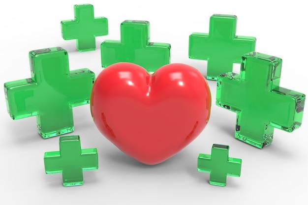 Croix verte et forme de coeur sur fond blanc