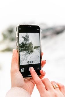 Crop femme anonyme prenant des photos de bois d'hiver recouverts de neige tout en utilisant un smartphone